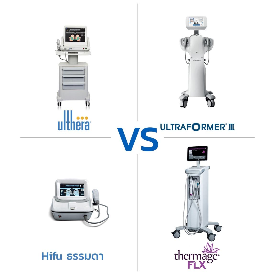 Ulthera vs Hifu macrofocus vs Hifu ธรรมดา vs Thermage flx